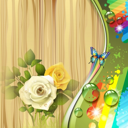 Wood background with roses and drops  Vector