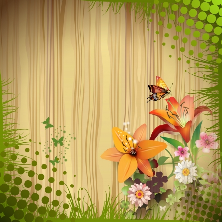 lily leaf: Wood background with lilies and drops