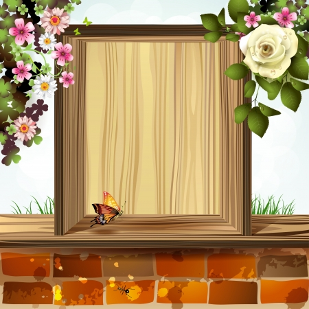 Window frame with flowers Vector