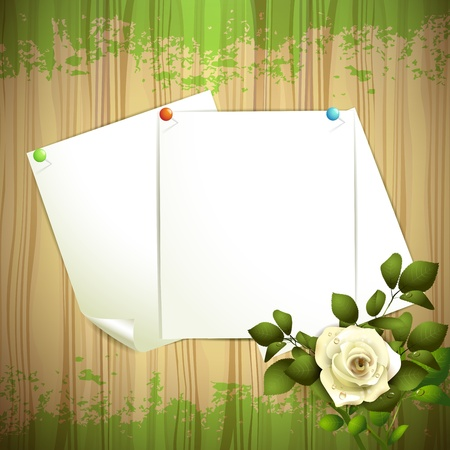 Wood background with sheets of paper and white rose Stock Vector - 16034054
