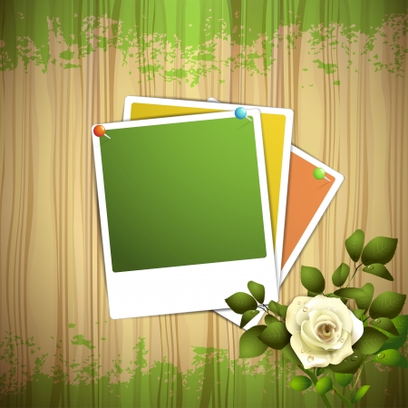 Wood background with photos and white rose  Stock Vector - 16034051