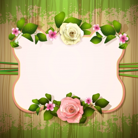 Mirror with roses over wood texture Vector