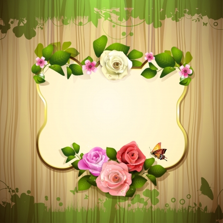 ambiance: Mirror with roses and butterfly over wood texture