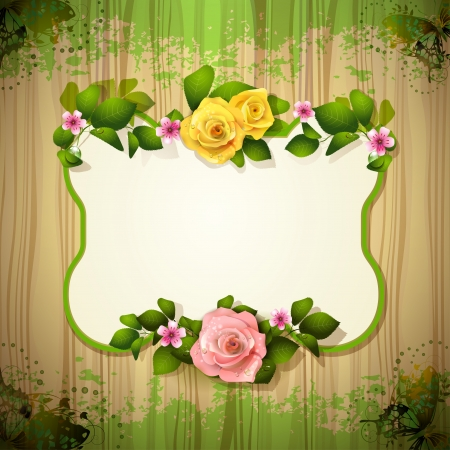 ambiance: Mirror with roses over wood texture