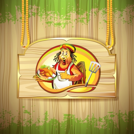 Cartoon cook coconut with smoked chicken over wood banner Vector