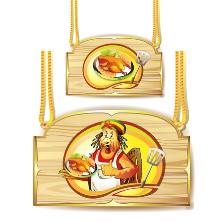 Cartoon cook coconut and smoked chicken over wood banner Vector
