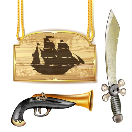 Pirate ship over wood banner with sword and gun Vector