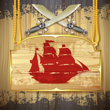 Red pirate ship over wood banner and swords Vector