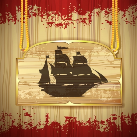 Pirate ship over wood banner Vector