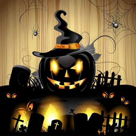 Halloween pumpkin with cemetery over wood texture  Stock Vector - 16034030