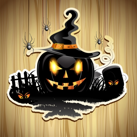 Halloween pumpkin with cemetery over wood texture Stock Vector - 16034058