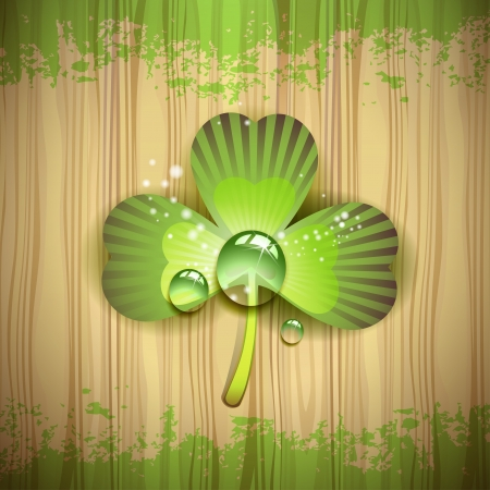 Wood background with clover and drops of water Stock Vector - 16034021