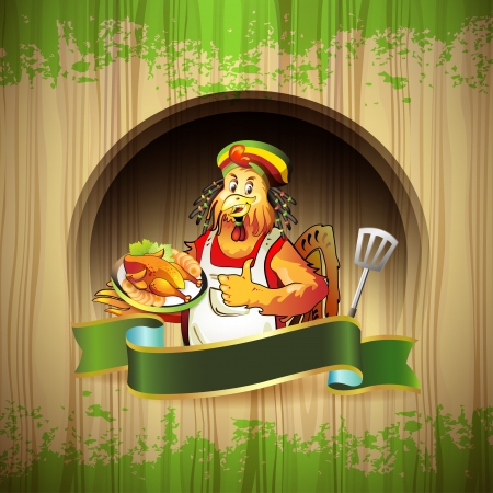 Cartoon cook coconut with smoked chicken over wood background  Illustration
