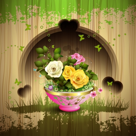 ambiance: Carved wood background and flowerpot with roses
