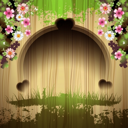 ambiance: Carved wood background with flowers