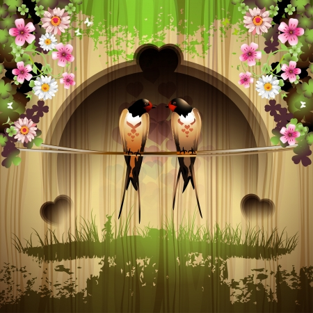 Two swallows and flowers over wood background