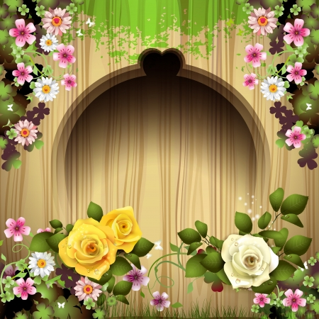 Carved wood background with roses