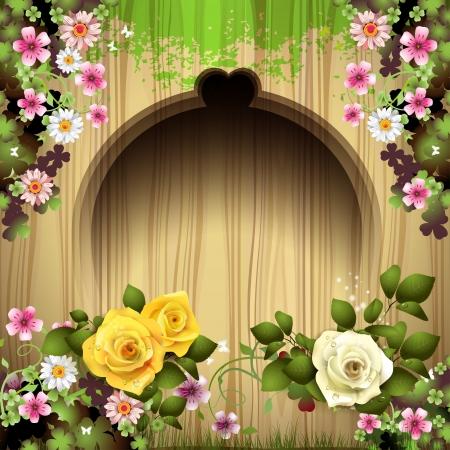 elegante: Sfondo di legno intagliato con le rose
