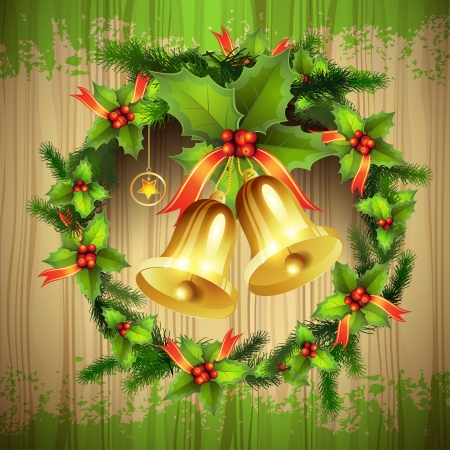 Wood background with Christmas bells Vector
