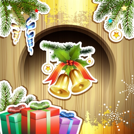 Wood background with Christmas bells and gifts Stock Vector - 16435176