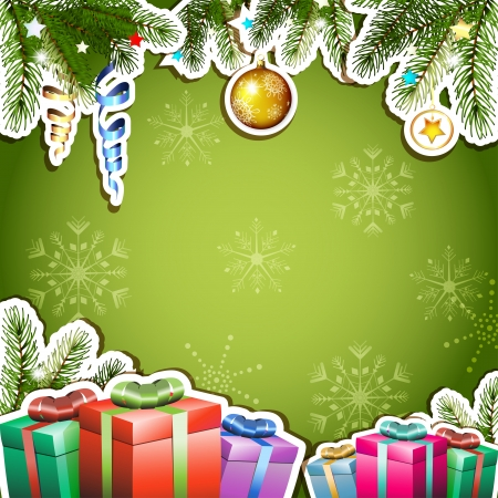 new yea: Green background with Christmas gifts and ball Illustration