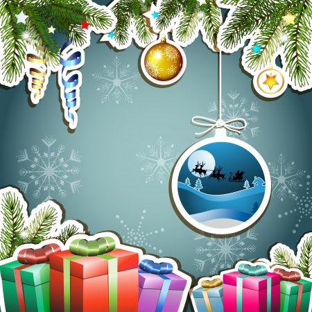 new yea: Blue background with Christmas gifts and Santa sleigh Illustration