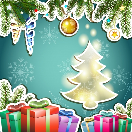 new yea: Christmas card with gifts and pine tree