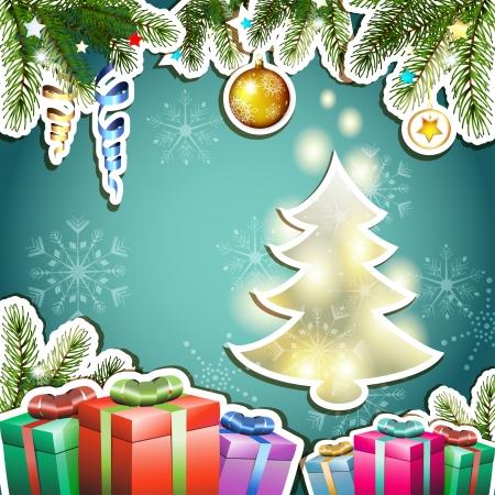 new yea: Tarjeta de Navidad con los regalos y el �rbol de pino