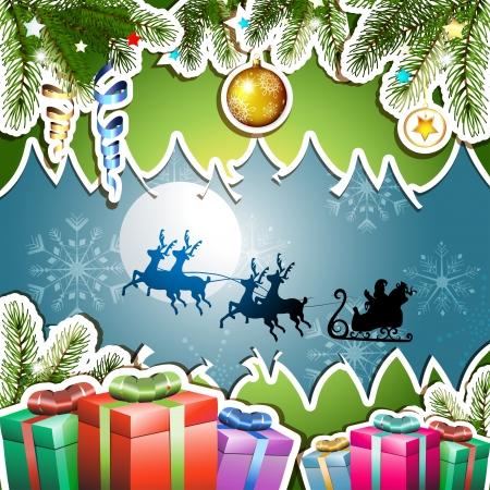 new yea: Christmas with gifts and Santa sleigh