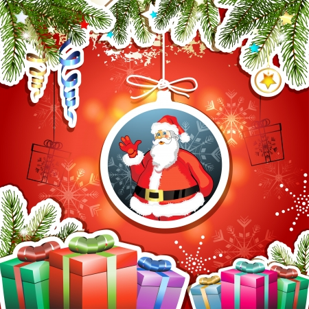 new yea: Christmas card with gifts and Santa Illustration