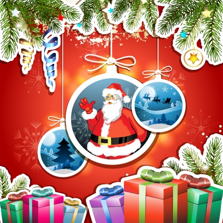 new yea: Tarjeta de Navidad con regalos y Santa
