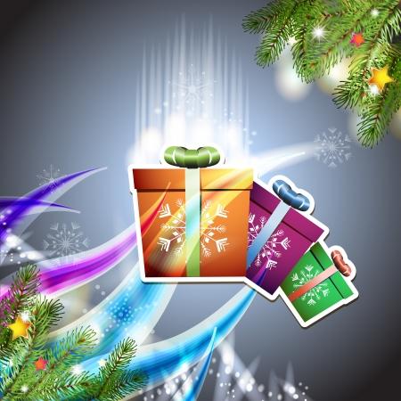 new yea: Tarjeta de Navidad con caja de regalo