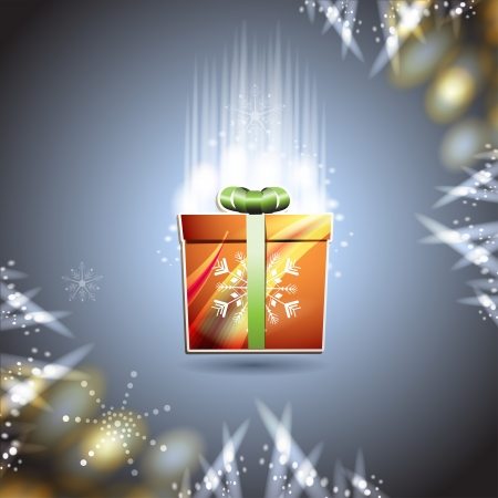 new yea: Christmas card with gift box over blue background