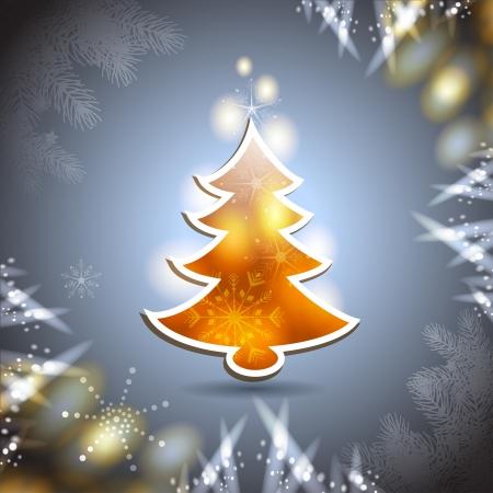 new yea: Tarjeta de Navidad con el �rbol de pino sobre fondo azul Vectores
