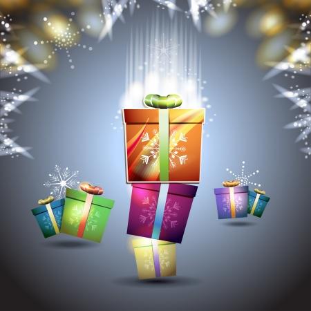 new yea: Tarjeta de Navidad con caja de regalo sobre fondo azul Vectores