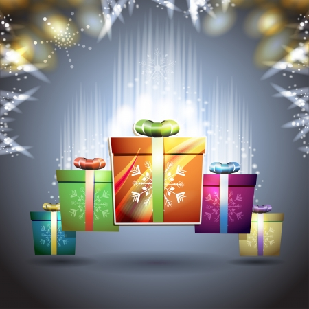 new yea: Christmas card with gifts box over blue background Illustration