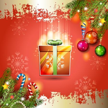 new yea: Tarjeta de Navidad con caja de regalo sobre fondo rojo