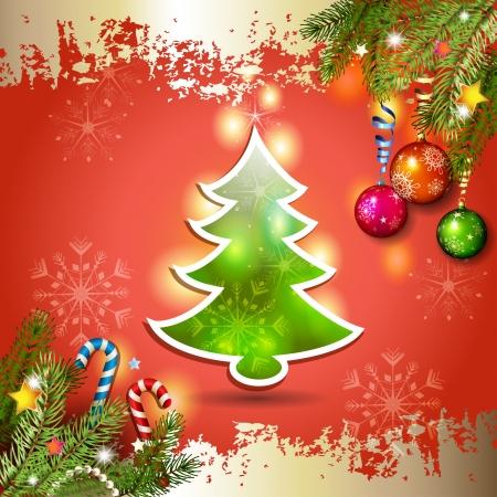 new yea: Tarjeta de Navidad con el �rbol de pino sobre fondo rojo