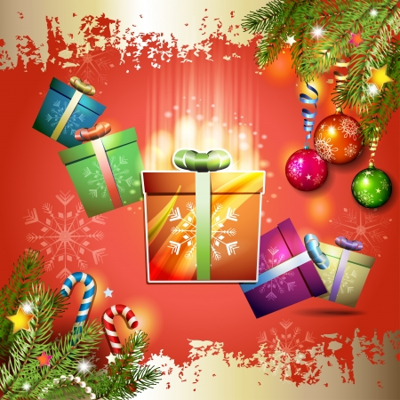 new yea: Christmas card with gifts box over red background