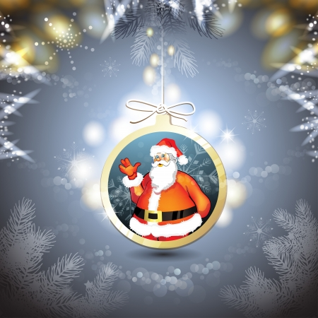 new yea: Christmas with Santa in hanging ball shape