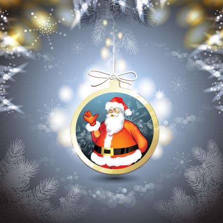 new yea: Navidad con Santa que cuelga en forma de bola
