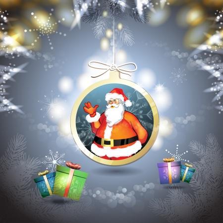 new yea: Navidad con los regalos y Santa cuelga en forma de bola Vectores