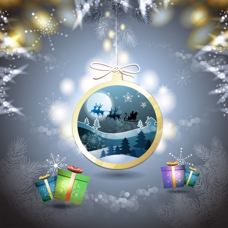 santa sleigh: Christmas with gifts and Santa sleigh in hanging ball shape