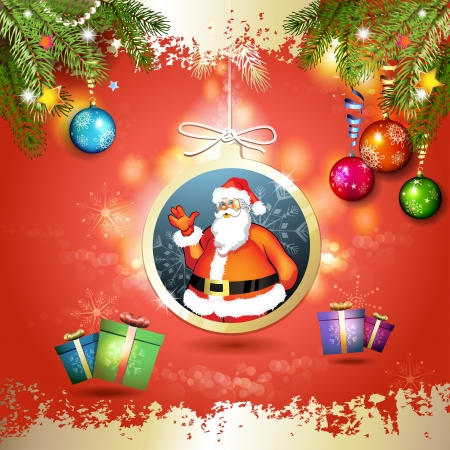 new yea: Christmas with gifts and Santa in hanging ball shape