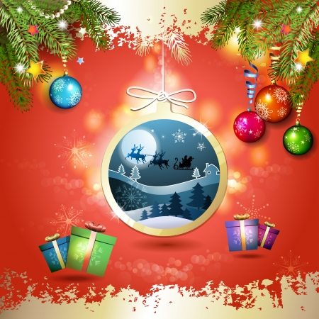 new yea: Christmas with gifts and Santa sleigh in hanging ball shape