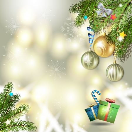 new yea: Christmas card with gifts box