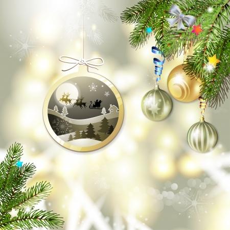 new yea: Christmas with balls and Santa sleigh