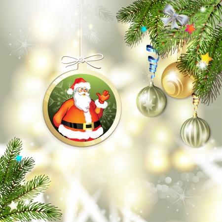 new yea: Tarjeta de Navidad con bolas y Santa