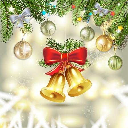 jingle bell: Christmas bells and pine tree with balls
