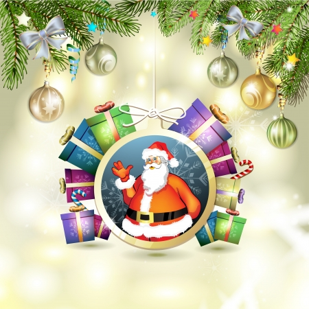 new yea: Christmas with gifts and Santa
